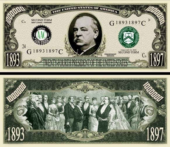 Details about 24TH PRESIDENT GROVER CLEVELAND DOLLAR BILL (500 Bills)